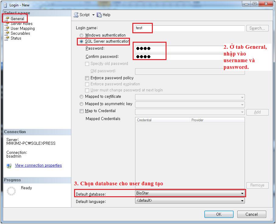 Hướng dẫn tạo tài khoản SQLServer để chạy website