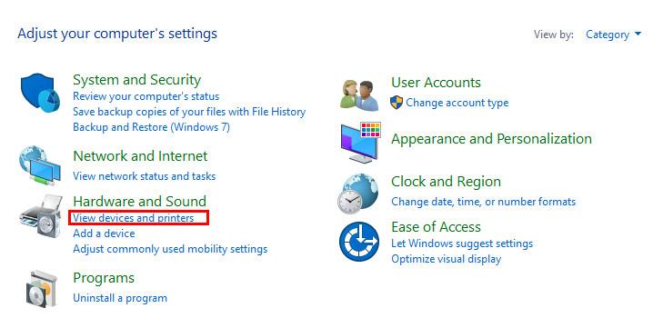 Mở Control Panel, sau đó tìm và click chọn Devices and Printers.