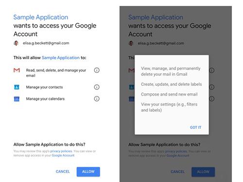 Thông báo xin quyền truy cập vào Gmail của một ứng dụng.