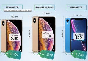 Điểm khác biệt giữa iPhone Xs, Xs Max và Xr