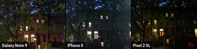 camera của iPhone X, Pixel 2 XL và Galaxy Note 9