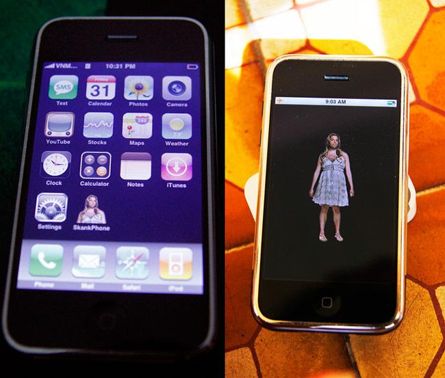 Giao diện người dùng của máy tương tự iPhone 2G bản thương mại