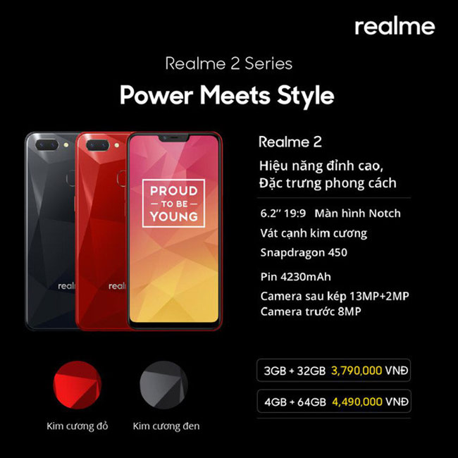 Realme 2 sở hữu màn hình Notch theo xu hướng và họa tiết kim cương nổi bật.