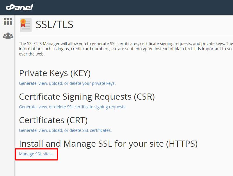 SSL/TLS, bạn nhấp chọn vào mục Manage SSL sites - Hướng dẫn cài SSL trên Cpanel
