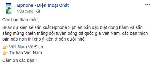 Bphone 3 phiên bản giới hạn cổ vũ đội tuyển Việt Nam