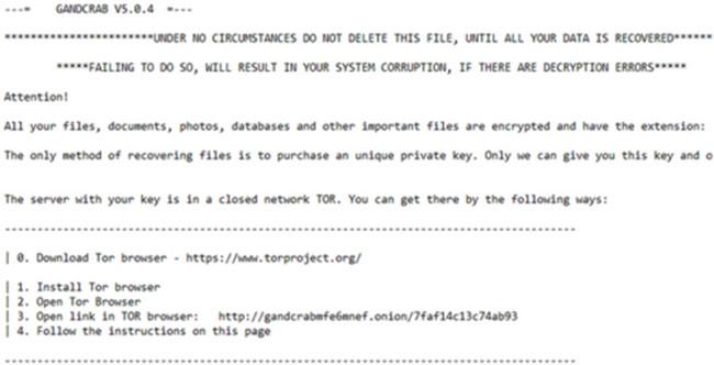 Thông báo đòi tiền chuộc trên máy tính nhiễm GandCrab.