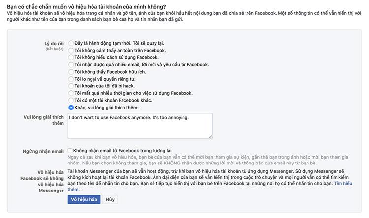bạn cần xác nhận bạn chắc chắn muốn vô hiệu hóa Facebook.