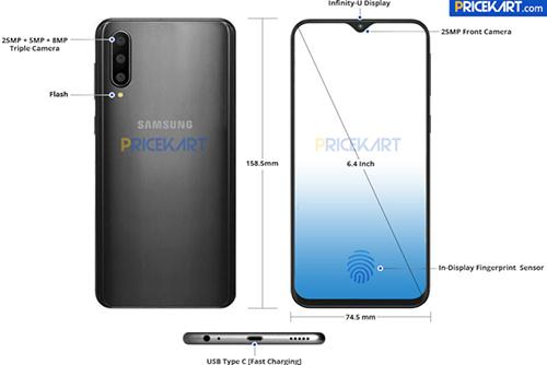 Galaxy A50 với cảm biến vân tay dưới màn hình lộ diện