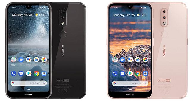 Nokia 4.2 có hai màu sắc là đen (bên trái) và hồng nhạt (bên phải).