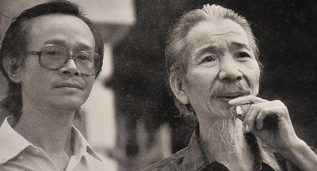 Nhạc sĩ Trịnh Công Sơn (trái), nhạc sĩ Văn Cao (phải)