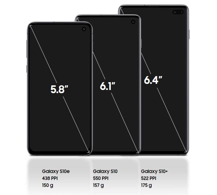 Màn hình Galaxy S10 giao động từ 5.8 inch đến 6.4 inch với viền siêu mỏng.