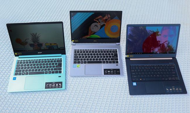 Ra mắt đầu 2019, bộ ba laptop mới gồm Swift 1 (ngoài cùng bên trái), Swift 3 (ở giữa), Swift 5 Air Edition (ngoài cùng bên phải)