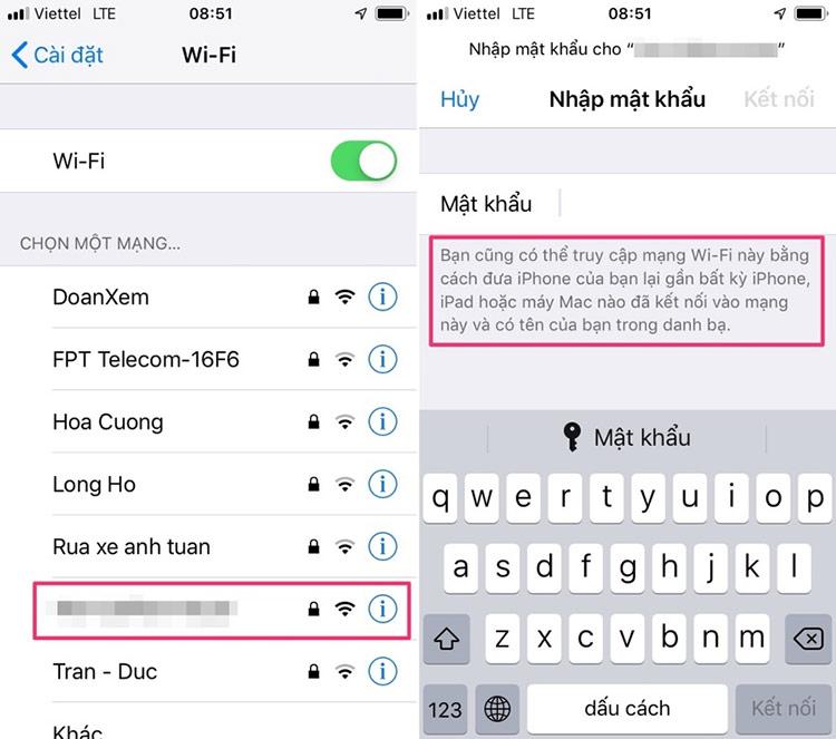 Chọn tên mạng Wi-Fi bạn muốn kết nối, và bạn sẽ thấy hộp thoại yêu cầu nhập mật khẩu Wi-Fi.