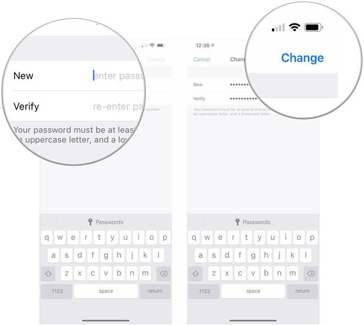 Nhập password mới vào mục New và Verify
