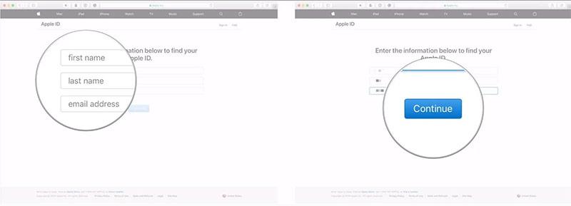 Chọn Continue. Nếu tên và email nằm trong hệ thống, bạn sẽ được điều hướng đến một trang với tựa đề Apple ID Found.