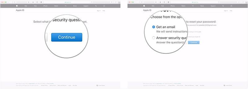 Chọn Get an email để nhận email hoặc Answer security questions để trả lời câu hỏi bảo mật. (Trong ví dụ này bạn chọn mục Get an email).