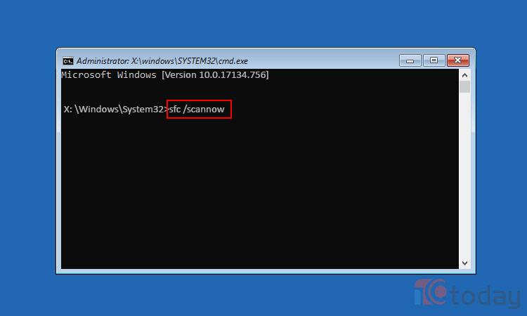 Trong Command Prompt gõ lênh: sfc/ Scannow để tiến hành quét toàn bộ máy nhé.
