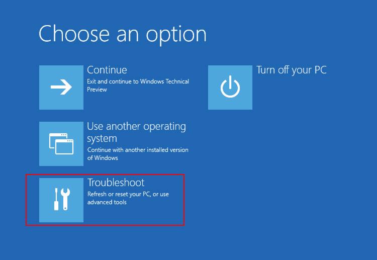 Khi màn hình Choose an option xuất hiện, bạn click chọn Troubleshoot => Advanced options => Startup settings => Restart để khởi động lại máy tính của bạn.