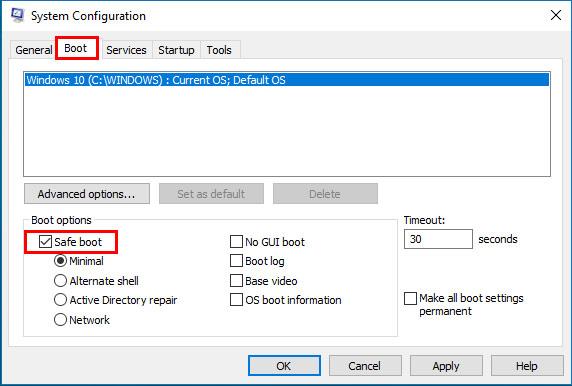 Trong trình System Configuration, bạn chuyển sang tab Boot, dưới phần Boot Options, bạn hãy chọn một trong bốn tùy chọn có sẵn