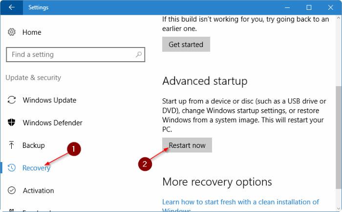 Tại mục Advanced startup, bạn click chọn Restart now để khởi động lại máy tính của mình