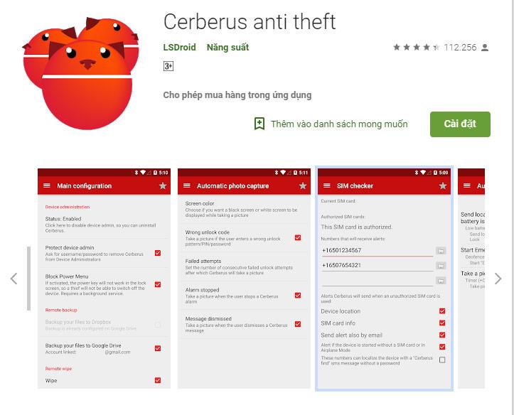 cài đặt ứng dụng Cerberus anti theft