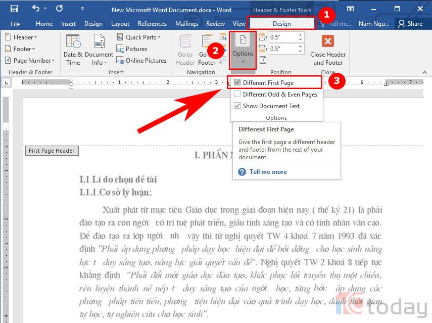 đánh số trang từ trang thứ 2 bạn cần loại bỏ số trang trên trang đầu tiên
