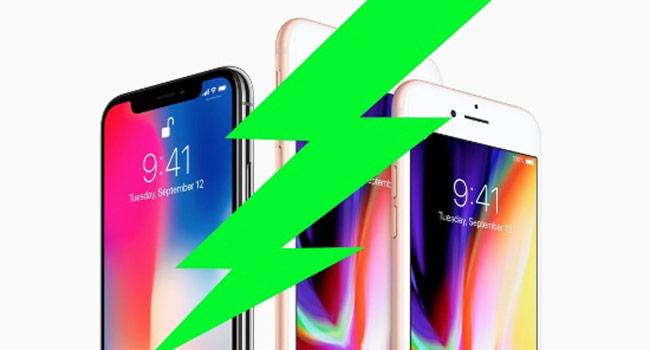 cả iPhone X và iPhone 8 đều hỗ trợ sạc nhanh 15W khi chỉ cần 30 phút là sạc đầy 50% dung lượng pin và tất nhiên vẫn hỗ trợ sạc không dây tiên tiến.