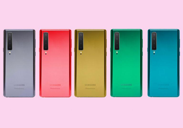 Ảnh Galaxy Note 10 nhiều màu sắc, camera 4 ống kính
