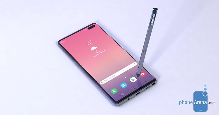 Ảnh dựng Galaxy Note 10 với phần khoét camera nằm ở giữa. Ảnh: PhoneArena.