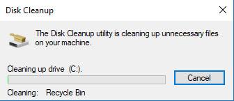 ử dụng tiện ích Disk Cleanup ở Windows 10 Xóa các tập tin tạm thời