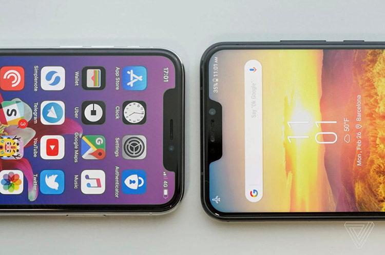 Không lâu sau, thế giới Android tràn ngập những thiết bị sao chép nửa vời phần khuyết của iPhone X. Ảnh: The Verge.