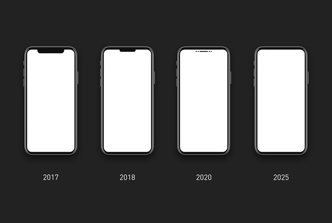 Không cần phải chờ đến năm 2025 như dự đoán trong bức hình này, người dùng sẽ sớm có smartphone màn hình tràn viền đúng nghĩa. Ảnh: Reddit.