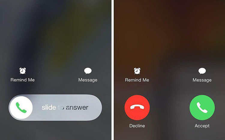 Phím từ chối cuộc gọi không xuất hiện khi iPhone đang khóa.