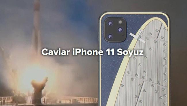 iPhone 11 Soyuz là phiên bản kỉ niệm tàu vũ trụ của Nga. Mặt lưng của model này có hình Soyuz-MS-0, được làm từ bộ phận của chiếc tàu vũ trụ.
