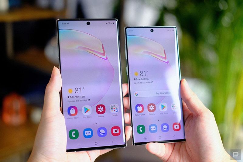 Galaxy Note10 có màn hình 6,3 inch, phù hợp với những người dùng có bàn tay nhỏ, đặc biệt là phái nữ. Trong khi đó, màn hình trên Galaxy Note10+ là 6,8 inch. Đây là smartphone có màn hình lớn nhất hiện nay của Samsung.