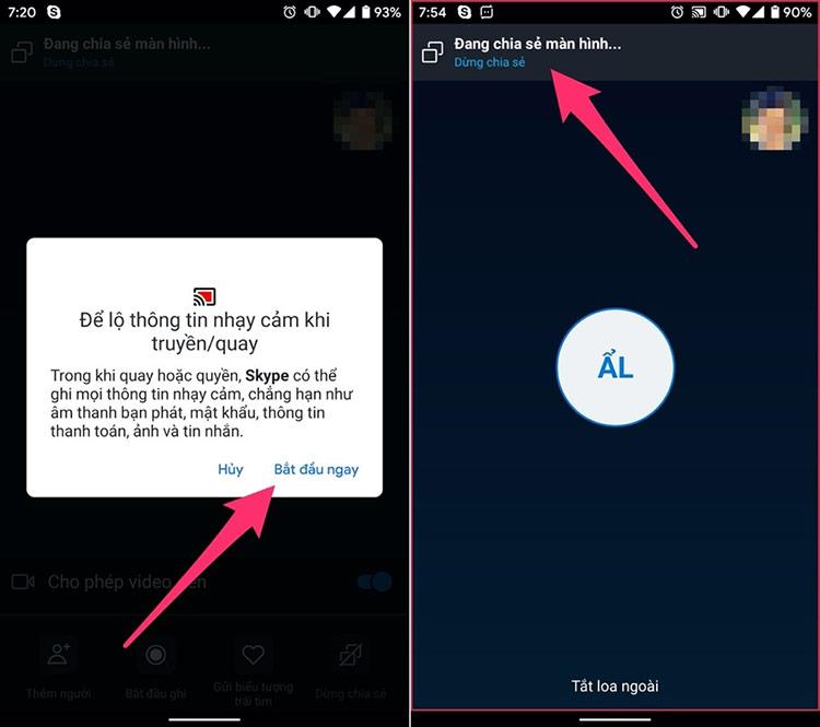 Trên iOS, bạn sẽ thấy danh sách các ứng dụng trong một bản thông báo nhỏ, hãy chọn Skype từ danh sách, và bấm nút Start Broadcast (Bắt đầu truyền phát).