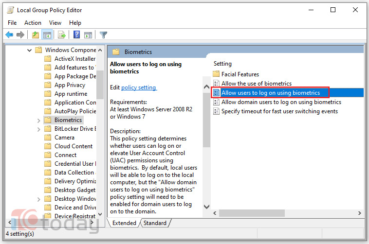 Sửa lỗi Window Hello khi cập nhật Windows 10