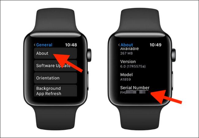 Cách tìm ra số serial và IMEI của Apple Watch