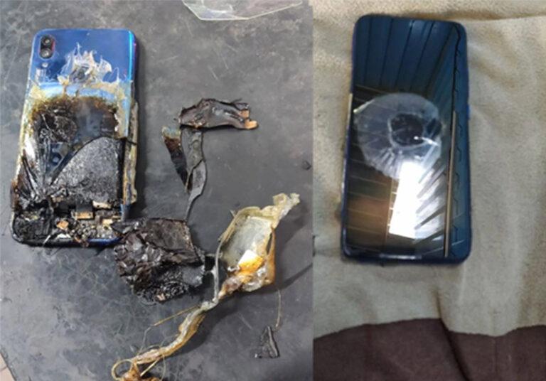 Điện thoại Xiaomi bốc cháy trên bàn làm việc