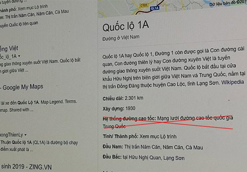 Google ghi quốc lộ 1A thuộc mạng lưới cao tốc Trung Quốc?