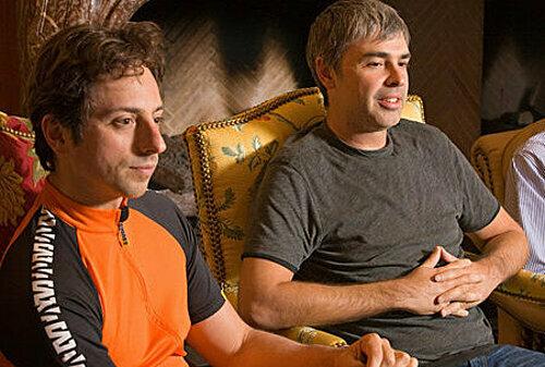Hai đồng sáng lập Google, Sergey Brin (trái) và Larry Page (phải)