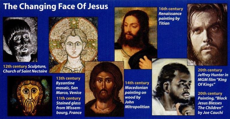 Khuôn mặt của khác nhau Chúa Jesus tại mỗi nơi trên thế giới tùy theo từng thời điểm