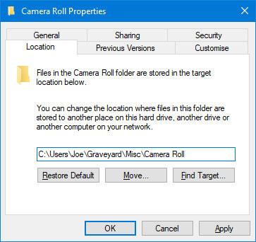 Di chuyển thư mục Camera Roll và Saved Pictures