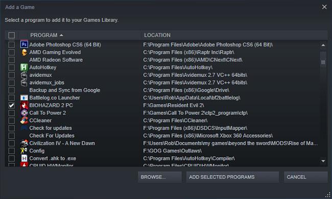 Bạn có thể thêm bất kỳ game không phải Steam nào