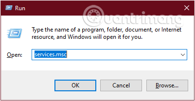 Nhập lệnh services.msc để mở cửa sổ Service