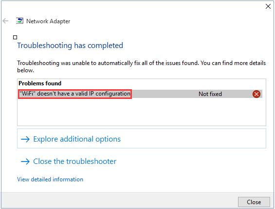 Lỗi WiFi doesn't have a valid IP configuration trên máy tính Windows 10