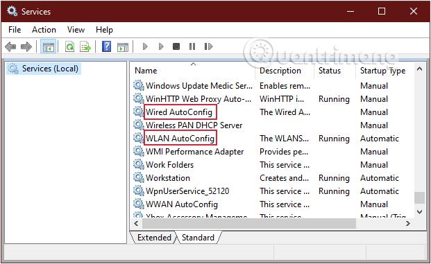 Tìm mục Wired Autoconfig và WLAN Autoconfig