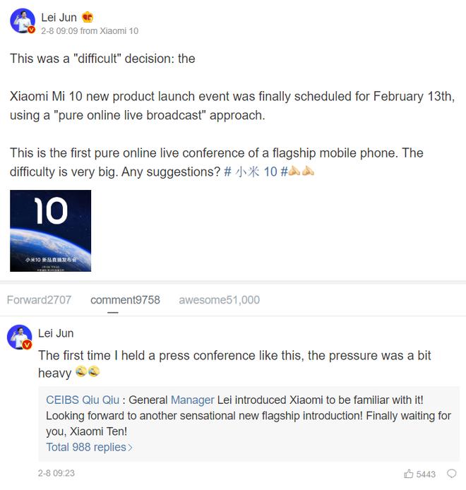 CEO Xiaomi xác nhận ngày mắt Mi 10, lên mạng hỏi lời khuyên để tổ chức sự kiện trực tuyến - Ảnh 2.