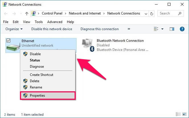 kích chuột phải vào kết nối mạng mà bạn đang sử dụng, chọn Properties