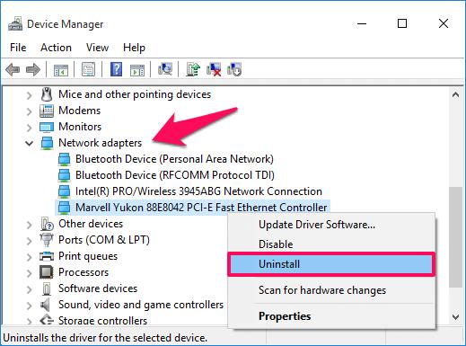 Kích chuột phải vào Ethernet card mà bạn đang sử dụng, chọn Uninstall